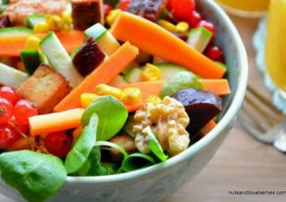 Walnut tofu salad with fried curry corn