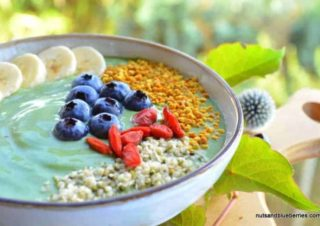 Spirulina smoothie bowl with greens