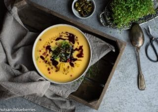 Autumnal butternut pumpkin soup with spicy honey sprinkle