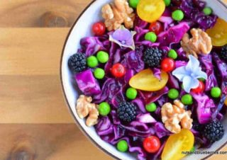 Purple cabbage salad with roasted walnuts