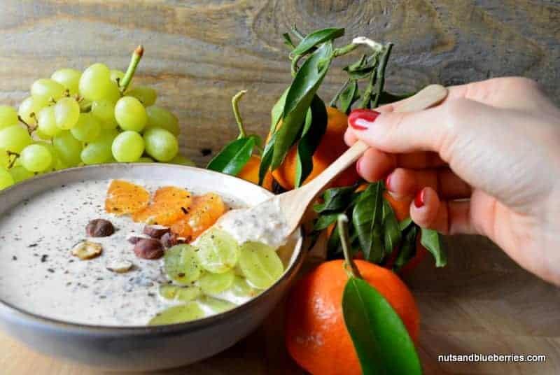 Mandarin porridge with roasted hazelnuts