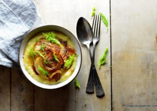 Caramelized fennel with cheesy Polenta