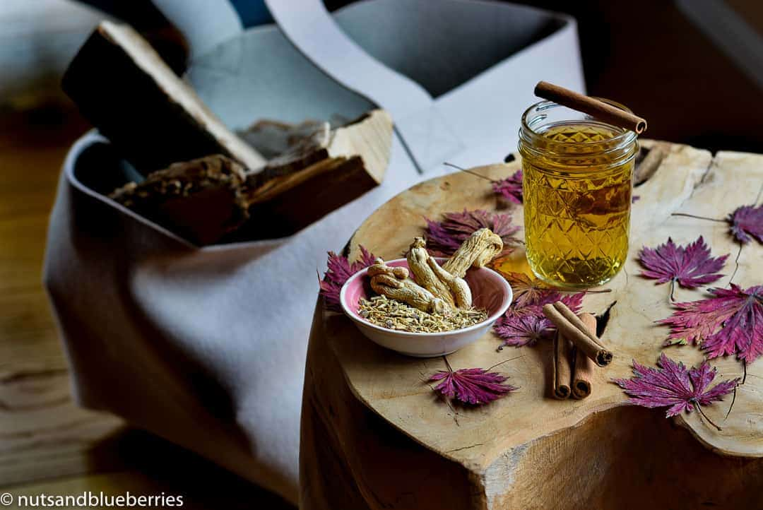 Healing Ginseng Tea against headache, migraine or detoxifying