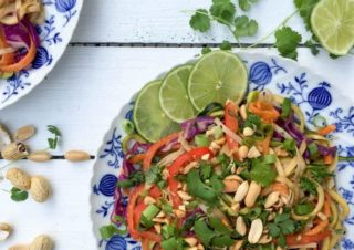 Guest Recipe: Healthy Pad Thai with Peanut Sauce and Coriander