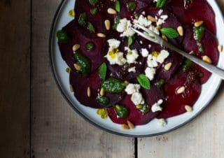 5 min. beetroot carpaccio with basil pesto and cat whisper