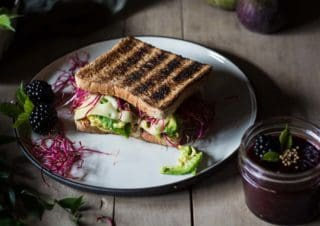 Avocado-cheese-sandwich with blackberry mustard