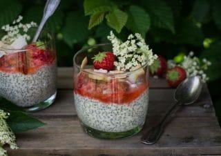 Elderflower infused coconut mousse with strawberries