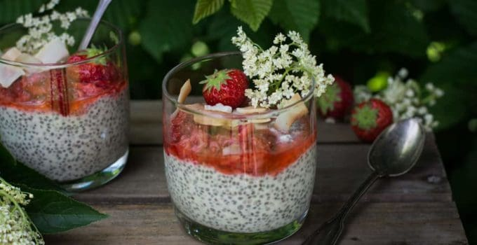 Elderflower infused coconut mousse with strawberries